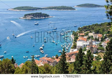 View of the Port of Hvar and the Pakleni Islands from the Fortress of Hvar in Croatia