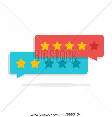 Concept of customer feedback. Rating in the form of stars. Negative or positive rating. Dialog box for the interface in the mobile application or on the site