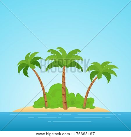 Paradise in Hawaii. Tropical island in the sea with palms and bush. Place to spend a vacation away from civilization