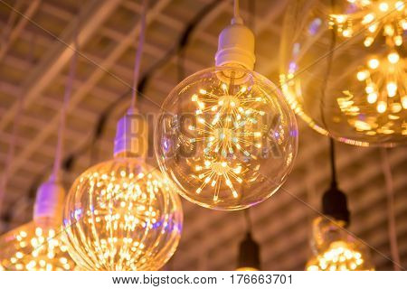 Decorative edison style LED light bulb hang from ceiling