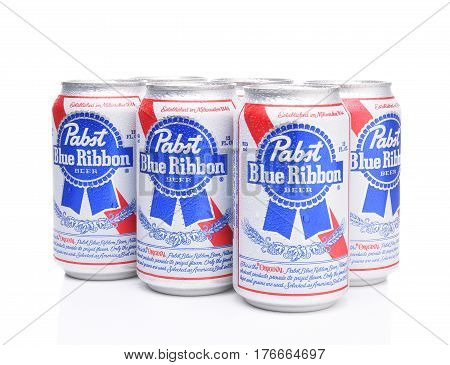 IRVINE CALIFORNIA - MARCH 16 2017: Pabst Blue Ribbon Beer. Six cans of the American brand introduced in 1884 in Milwaukee currently based in Los Angeles.