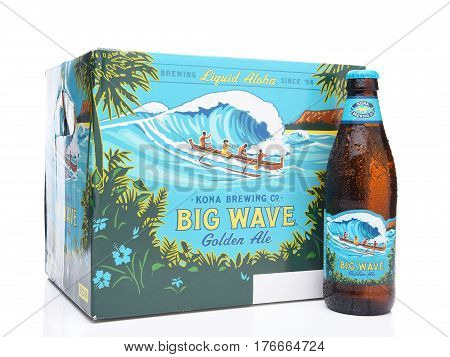 IRVINE CALIFORNIA - MARCH 16 2017: Kona Brewing Company Big Wave Golden Ale 12 pack. The brewery is located in Kailua-Kona on the Big Island of Hawaii.