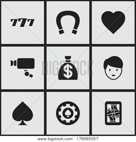 Set Of 9 Editable Game Icons. Includes Symbols Such As Tracking Cam, Moneybag, Blackjack And More. Can Be Used For Web, Mobile, UI And Infographic Design.