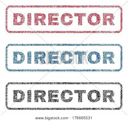 Director text textile seal stamp watermarks. Blue, red, black fabric vectorized texture. Vector caption inside rounded rectangular banner. Rubber sticker with fiber textile structure.