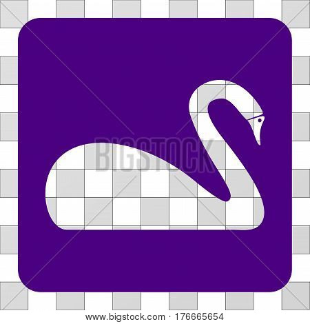 Swan interface icon. Vector pictograph style is a flat symbol perforation in a rounded square shape, indigo blue color.