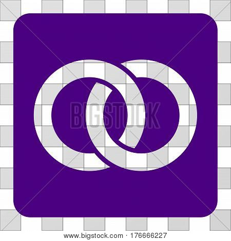 Wedding Rings interface icon. Vector pictograph style is a flat symbol hole centered in a rounded square shape, indigo blue color.