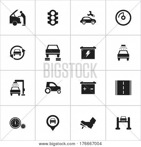 Set Of 16 Editable Traffic Icons. Includes Symbols Such As Vehicle Car, Treadle, Speed Display And More. Can Be Used For Web, Mobile, UI And Infographic Design.