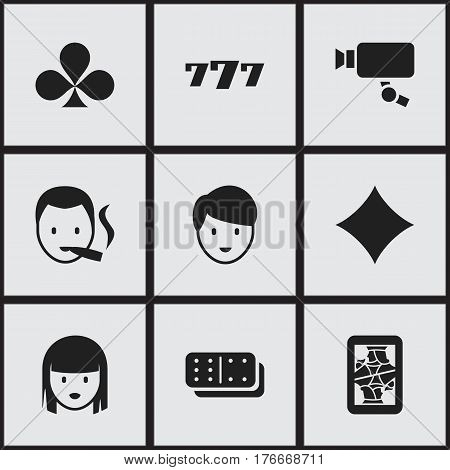 Set Of 9 Editable Excitement Icons. Includes Symbols Such As Tracking Cam, Lucky Seven, Shamrock And More. Can Be Used For Web, Mobile, UI And Infographic Design.