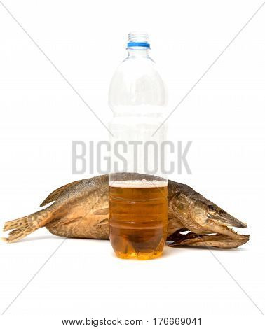smoked fish with a beer on a white background .