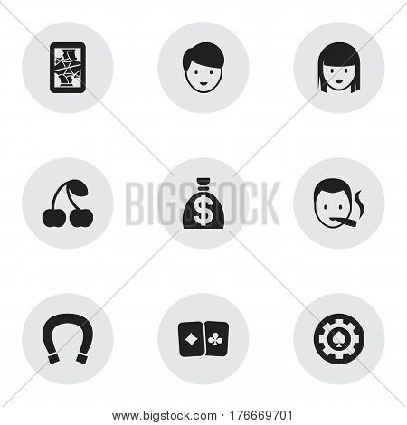 Set Of 9 Editable Business Icons. Includes Symbols Such As Blackjack, Female Face, Luck Charm And More. Can Be Used For Web, Mobile, UI And Infographic Design.