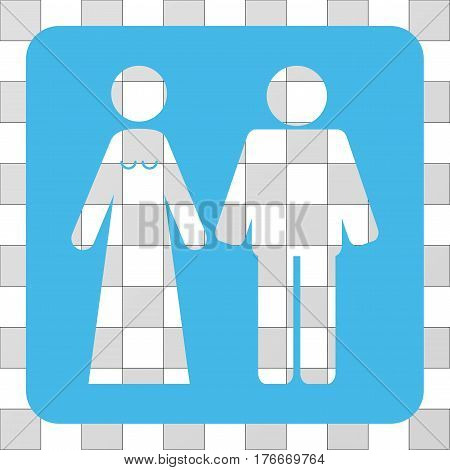 Married Groom And Bribe interface icon. Vector pictogram style is a flat symbol hole on a rounded square shape, light blue color.