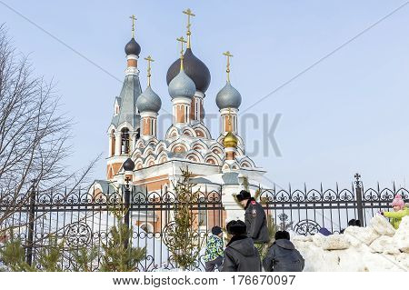 Berdsk Novosibirsk oblast Siberia Russia - February 26 2017: Russian holiday of Maslenitsa national street festivities at the Church