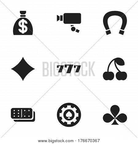 Set Of 9 Editable Business Icons. Includes Symbols Such As Shamrock, Lucky Seven, Rhombus And More. Can Be Used For Web, Mobile, UI And Infographic Design.