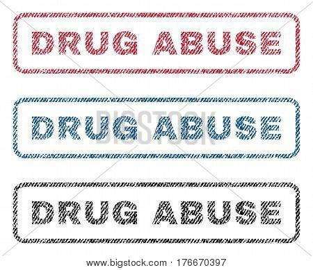 Drug Abuse text textile seal stamp watermarks. Blue, red, black fabric vectorized texture. Vector caption inside rounded rectangular shape. Rubber sign with fiber textile structure.