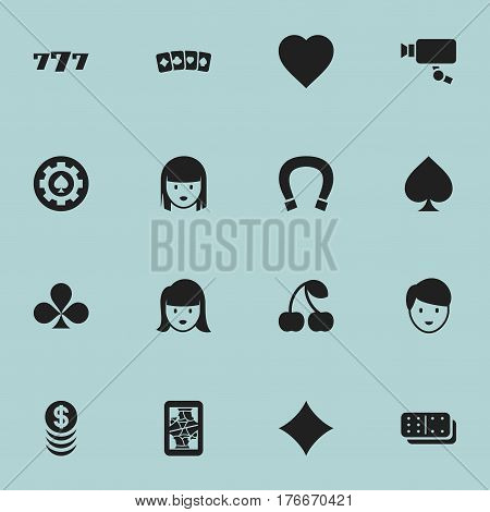 Set Of 16 Editable Game Icons. Includes Symbols Such As Black Heart, Casino Worker, Bones Game And More. Can Be Used For Web, Mobile, UI And Infographic Design.