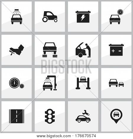 Set Of 16 Editable Traffic Icons. Includes Symbols Such As Stoplight, Auto Repair, Treadle And More. Can Be Used For Web, Mobile, UI And Infographic Design.