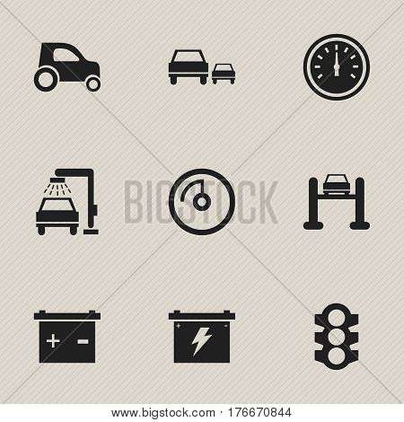 Set Of 9 Editable Vehicle Icons. Includes Symbols Such As Accumulator, Vehicle Car, Battery And More. Can Be Used For Web, Mobile, UI And Infographic Design.