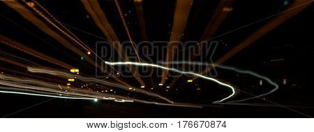 street lights view at night zoom out effect abstract