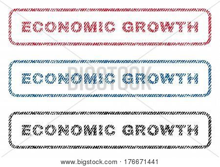 Economic Growth text textile seal stamp watermarks. Blue, red, black fabric vectorized texture. Vector tag inside rounded rectangular banner. Rubber emblem with fiber textile structure.