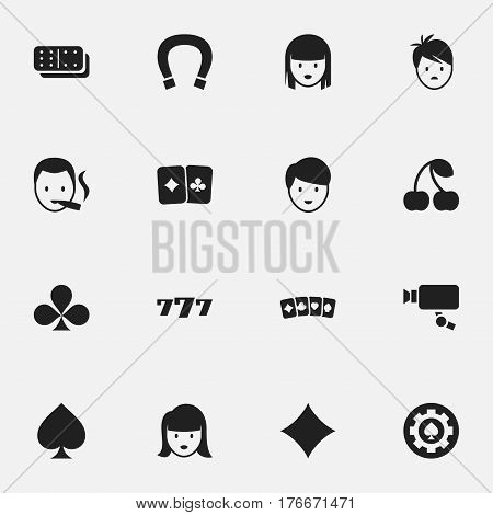 Set Of 16 Editable Excitement Icons. Includes Symbols Such As Bones Game, Card Suits, Game Card And More. Can Be Used For Web, Mobile, UI And Infographic Design.