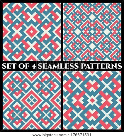 Set of 4 abstract contemporary geometrical seamless patterns with celtic ornament of red blue and white shades