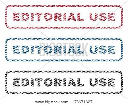 Editorial Use text textile seal stamp watermarks. Blue, red, black fabric vectorized texture. Vector tag inside rounded rectangular shape. Rubber sticker with fiber textile structure.