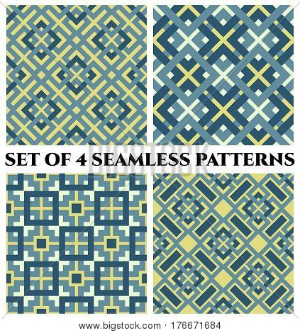 Set of 4 abstract modern geometrical seamless patterns with celtic ornament of blue yellow and white shades