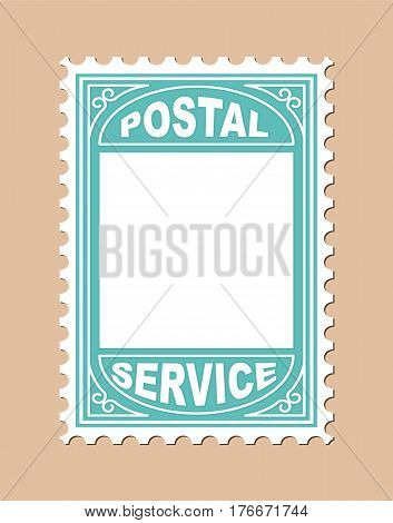 Stamp Shape Blank Placard. Vector Illustration of Postal Stamp Shape Blank Placard.