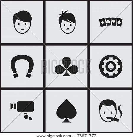 Set Of 9 Editable Casino Icons. Includes Symbols Such As Luck Charm, Black Heart, Casino Worker And More. Can Be Used For Web, Mobile, UI And Infographic Design.