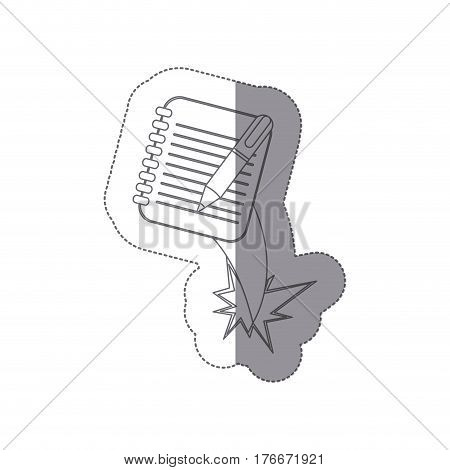 sticker silhouette notebook with rings and pen ejection flying vector illustration