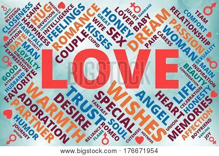 Word cloud collage related with love theme with hearts man and woman symbols of red blue vinous green and orange shades on bokeh background