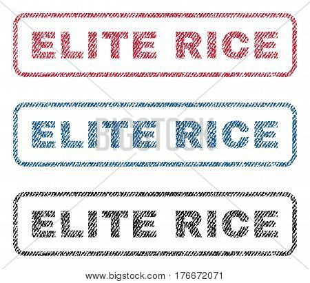 Elite Rice text textile seal stamp watermarks. Blue, red, black fabric vectorized texture. Vector tag inside rounded rectangular banner. Rubber sticker with fiber textile structure.