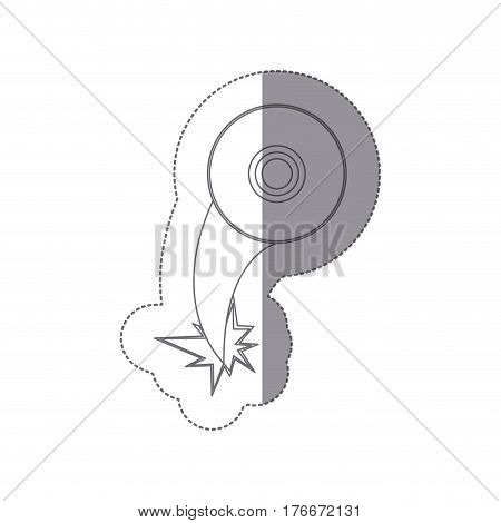 sticker silhouette with compact disc icon ejection flying vector illustration