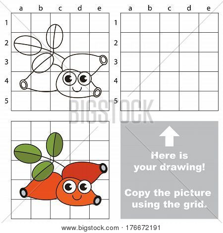 Copy the picture using grid lines. Easy educational kid game. Simple level of difficulty. Copy the Dog Rose.