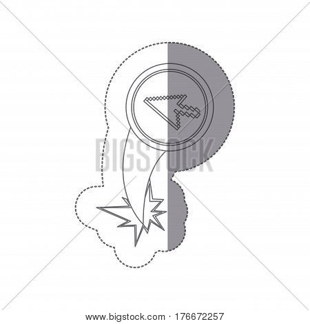 sticker silhouette circular frame with pixelated cursor arrow ejection flying vector illustration
