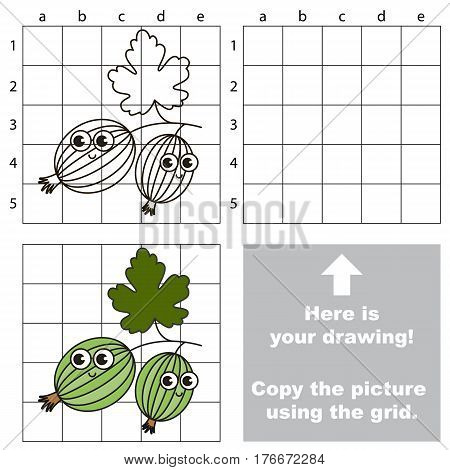 Copy the picture using grid lines. Easy educational kid game. Simple level of difficulty. Copy the Gooseberry.
