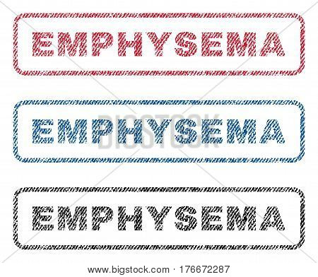 Emphysema text textile seal stamp watermarks. Blue, red, black fabric vectorized texture. Vector caption inside rounded rectangular shape. Rubber sticker with fiber textile structure.