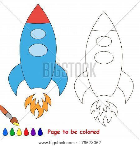 Rocket to be colored, the coloring book to educate preschool kids with easy kid educational gaming and primary education of simple game level.