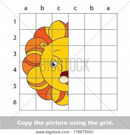 Vector kid educational game with easy game level for preschool kids education, finish the simmetrical picture using grid sells, the funny drawing kid school. Drawing tutorial for Lion Head.