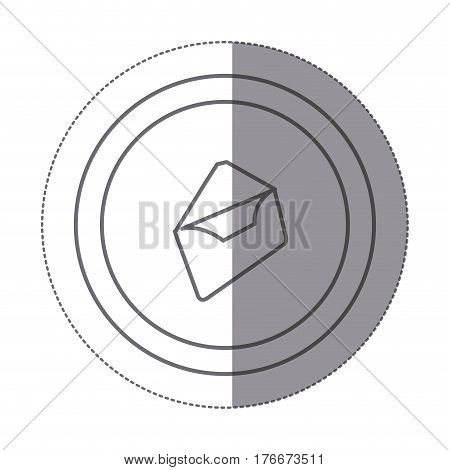 sticker silhouette circular frame with envelopes opened icon vector illustration