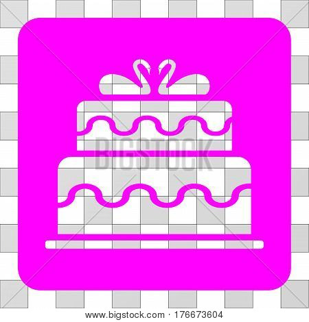 Marriage Cake toolbar icon. Vector pictogram style is a flat symbol hole centered in a rounded square shape, magenta color.