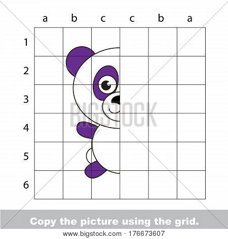Vector kid educational game with easy game level for preschool kids education, finish the simmetrical picture using grid sells, the funny drawing kid school. Drawing tutorial for Panda.