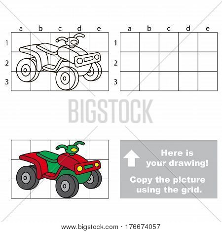 Copy the picture using grid lines. Easy educational game for kids. Simple kid drawing game with Quad bike