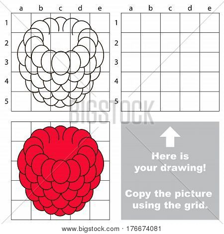 Copy the picture using grid lines. Easy educational game for kids. Simple kid drawing game with Red Raspberry.