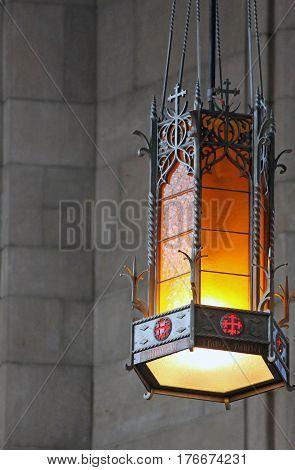 Ornate Hanging Lantern Inside St. John's Cathedral Spokane Washington
