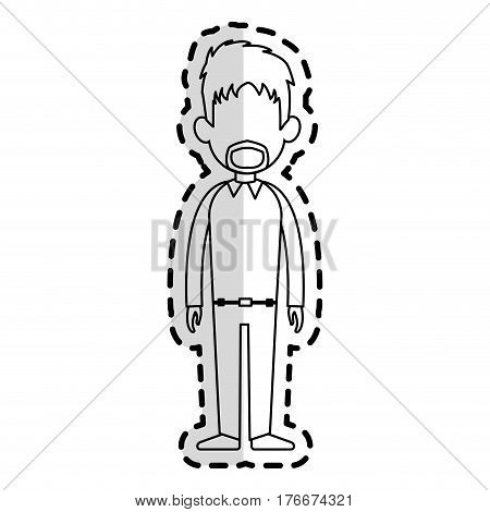 faceless man with scruffy hair and beard cartoon icon image vector illustration design  sticker