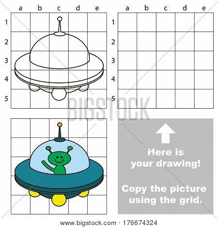 Copy the picture using grid lines. Easy educational game for kids. Simple kid drawing game with Ufo