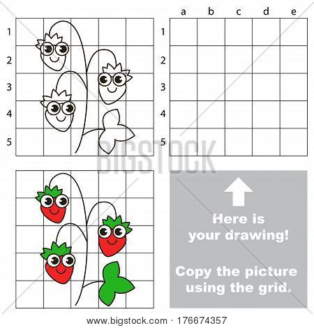 Copy the picture using grid lines. Easy educational kid game. Simple level of difficulty. Copy the Wild Strawberry.