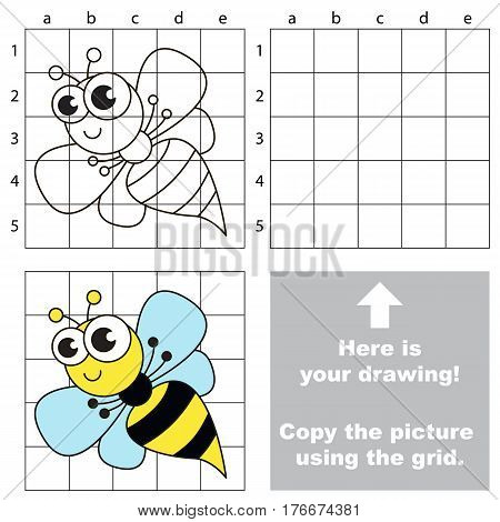 Copy the picture using grid lines. Easy educational game for kids. Simple kid drawing game with Wasp.