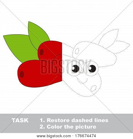 Cornelian cherry in vector to be traced. Restore dashed line and color the picture. Visual game for children. Easy educational kid gaming. Simple level of difficulty. Worksheet for kids education.